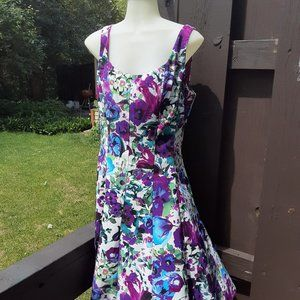 connected apparel purple and white flowered dress